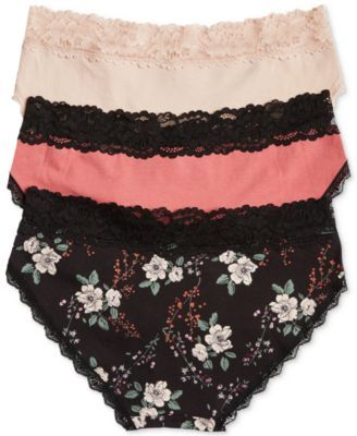 Jessica Simpson Maternity Bikini Briefs, 3-Pack - Black Floral, Red, Nude XL