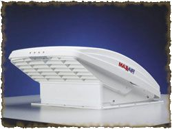 MaxxAir MaxxFan-It can pull air in, blow air out and act like a ceiling fan, can operate while raining.