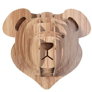 Wooden Teddy Bear Head For Wall Decoration Diy Crafts For Children Animals Head Wall Woodland Roomwoodland Forestanimal