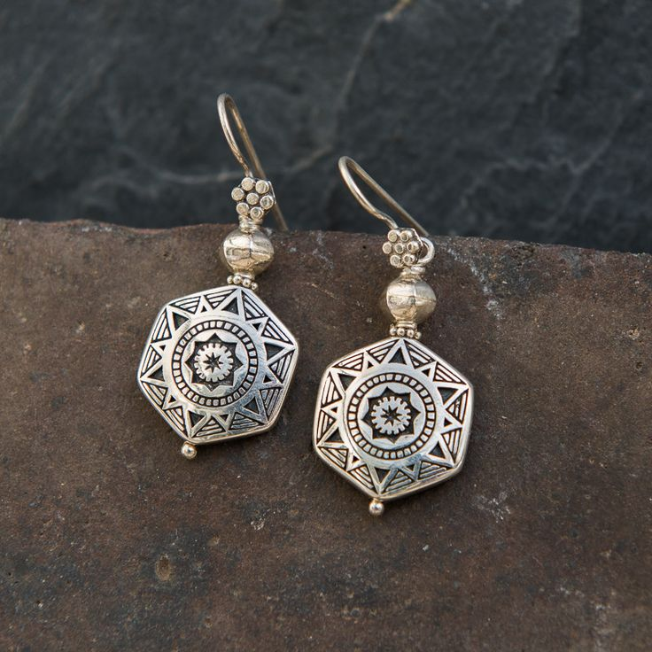 Sterling Silver Hexagonal Etched Earrings