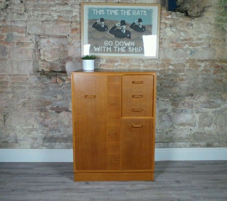 Vintage mid century 1950s G-Plan Brandon Oak tallboy drawers wardrobe DELIVERY  | eBay