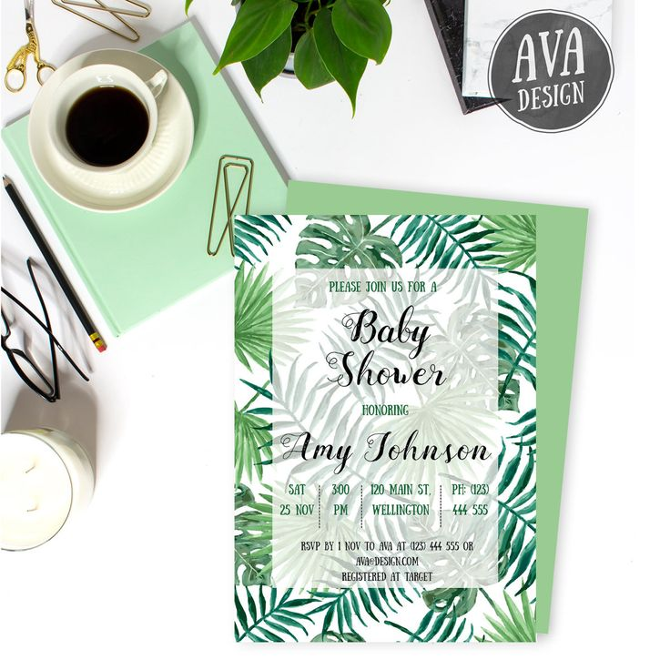 Trendy green leaves feature on this Baby Shower invitation with FREE matching thank you card :) Upon confirmation of payment, you will be able to instantly download your thank you card (one sided 4x6). Once I receive your party details, I will create your custom invite and email to you within 48 business hours.  Please contact me if you would like this design in another size or for a different occasion (e.g. birthday party, bridal shower, wedding) and I would be happy to create one for you…