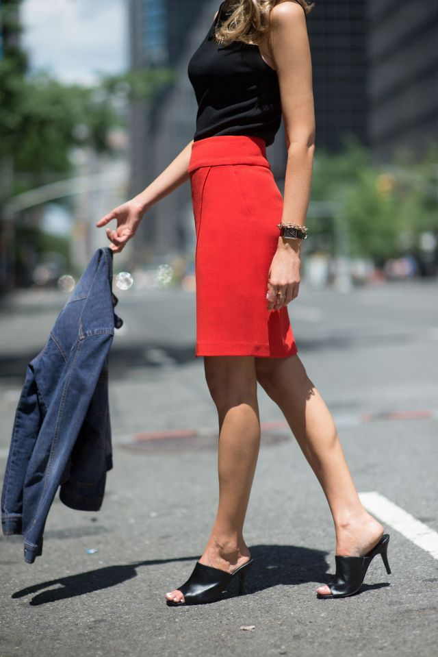 From my closet: Red pants, silk navy blouse