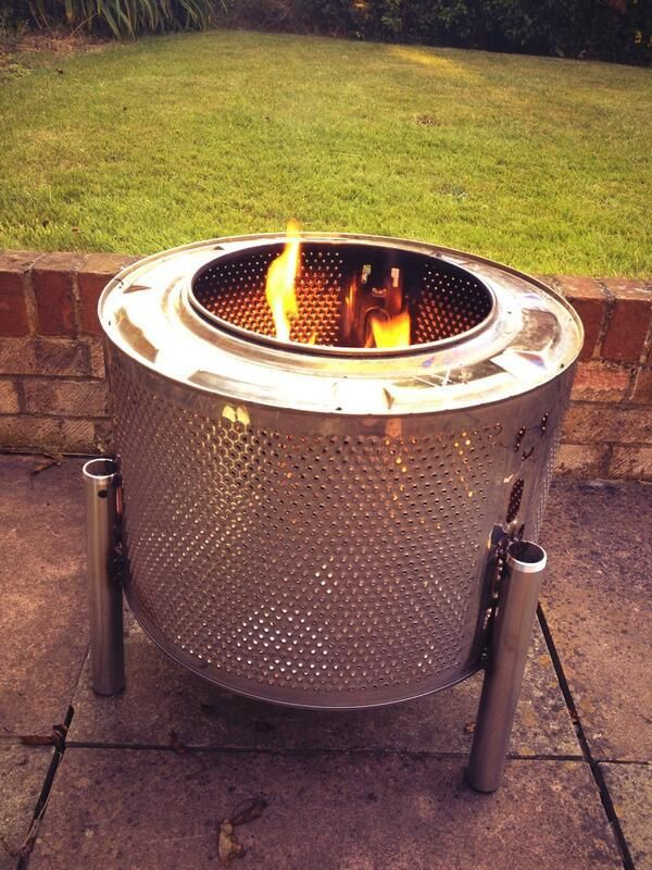 if you want a durable firepit .. upcycled washing machine drum  This is the coolest re-cycled idea I have seen. Gotta try this.