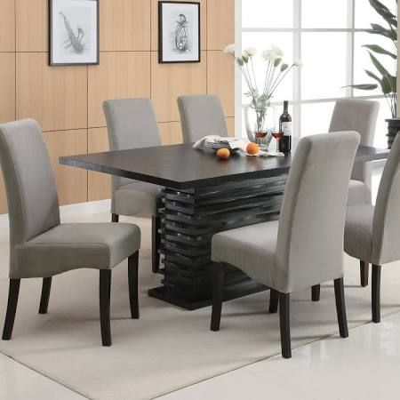 Coaster 102061 Black Dining Table With Single Rectangular Pedestal