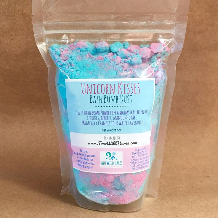 This bomb dust is made with Two Wild Hares exclusive fragrance called Unicorn Kisses! It's a whimsical blend of citruses, a trio of berries, juicy mango and grape. Add some dust to your bath for a little fragrance, bath oil, fizz & a little magic. It'll make you feel like a new person aga