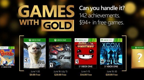 June 2016 Xbox Games With Gold - Goat Simulator(XB1) The Crew(XB1) Super Meat Boy(360) and XCOM Enemy Unknown... #LavaHot http://www.lavahotdeals.com/us/cheap/june-2016-xbox-games-gold-goat-simulatorxb1-crewxb1/92935