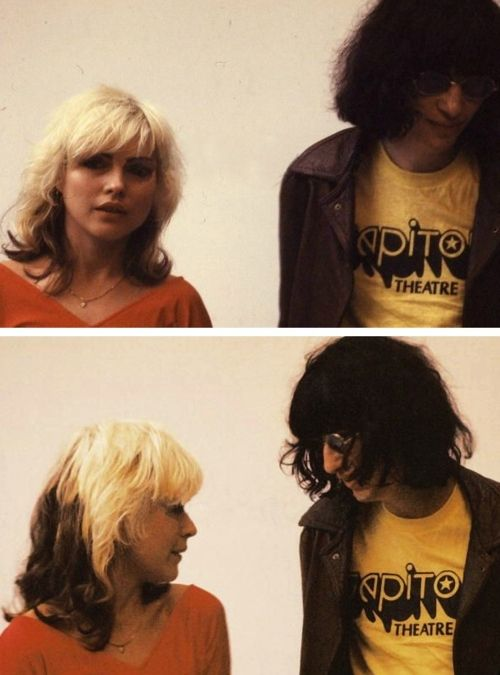 Debbie Harry and Joey Ramone @Bianca -- check out joey's shirt... ankle biters inspired by joey ramone!