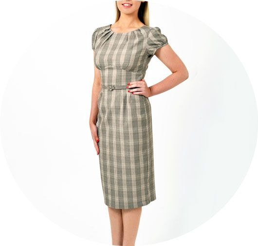 Stop Staring Dress FLWLS-03 BRNPL  A 'smart casual' day dress. Really versatile dress by Stop Staring Clothing, available from Revival Retro boutique in London UK. High neckline is conservative enough but the style has much feminine charm. One of many vintage style dresses available in store and for order online.