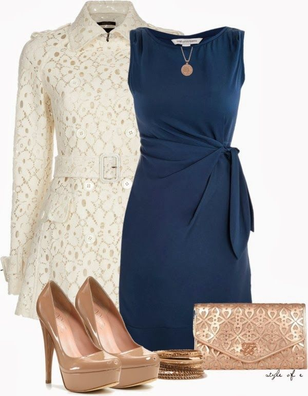 Classy Outfits | DVF Dress and Lace Coat