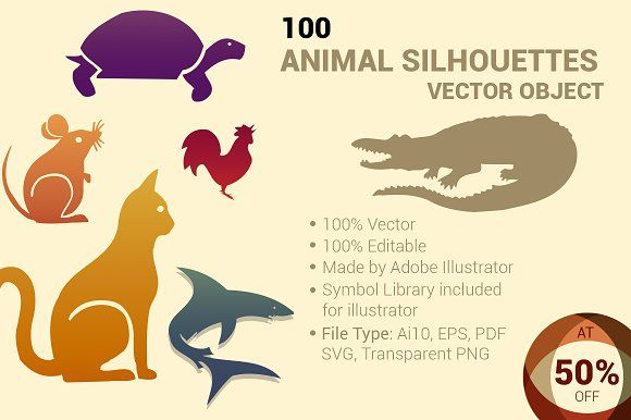 100 ANIMAL Silhouettes Vector Shapes by ORCOLOR on @creativemarket