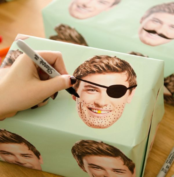 Put dad's face on wrapping and doodle with pens! #Fathersday
