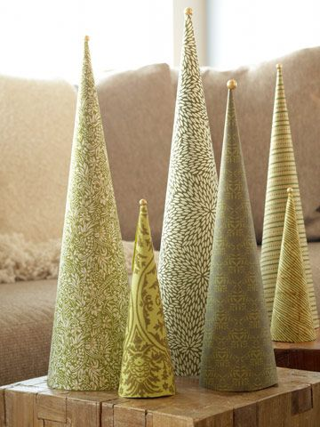 Scrapbook Paper Trees (covering cardboard or styrofoam)-- HOW EASY!! And Elegant!