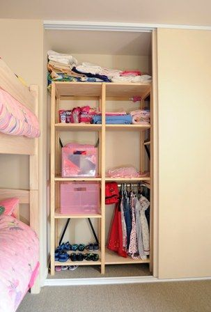 introducing custom shelving to existing storage space, children's bedroom - Living Room, Wellington