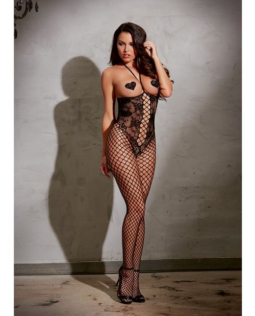Open Cup Bodystocking W/knitted Lace, Fishnet Legs, Open Crotch & Adjustable Halter Ties Black O/s - PlanetSexShop