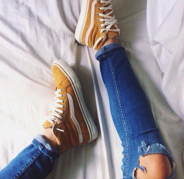 Vans Sk-8 High Top yellow mustard #Sneakers - tesori shoes womens, popular shoes womens, buy womens shoes online
