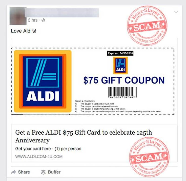 Watch out for the this fake Aldi coupon scam!