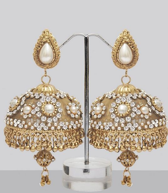 Stones & Pearls Studded Jhumka Earrings