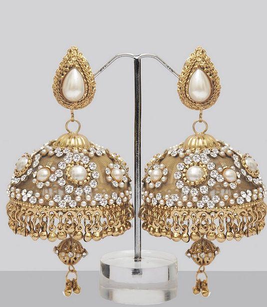 Stones & Pearls Studded Jhumka Earrings