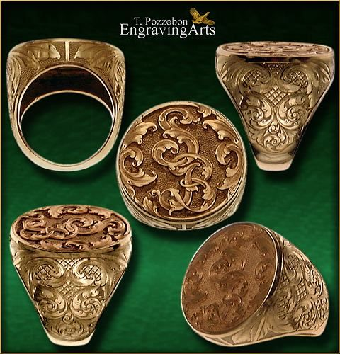 Hand Engraved Rose Gold 18k Coin Signet Ring Relief