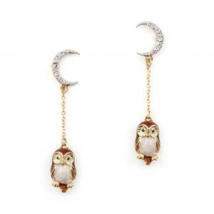 Owl & The Moon Drop Earrings - Brown