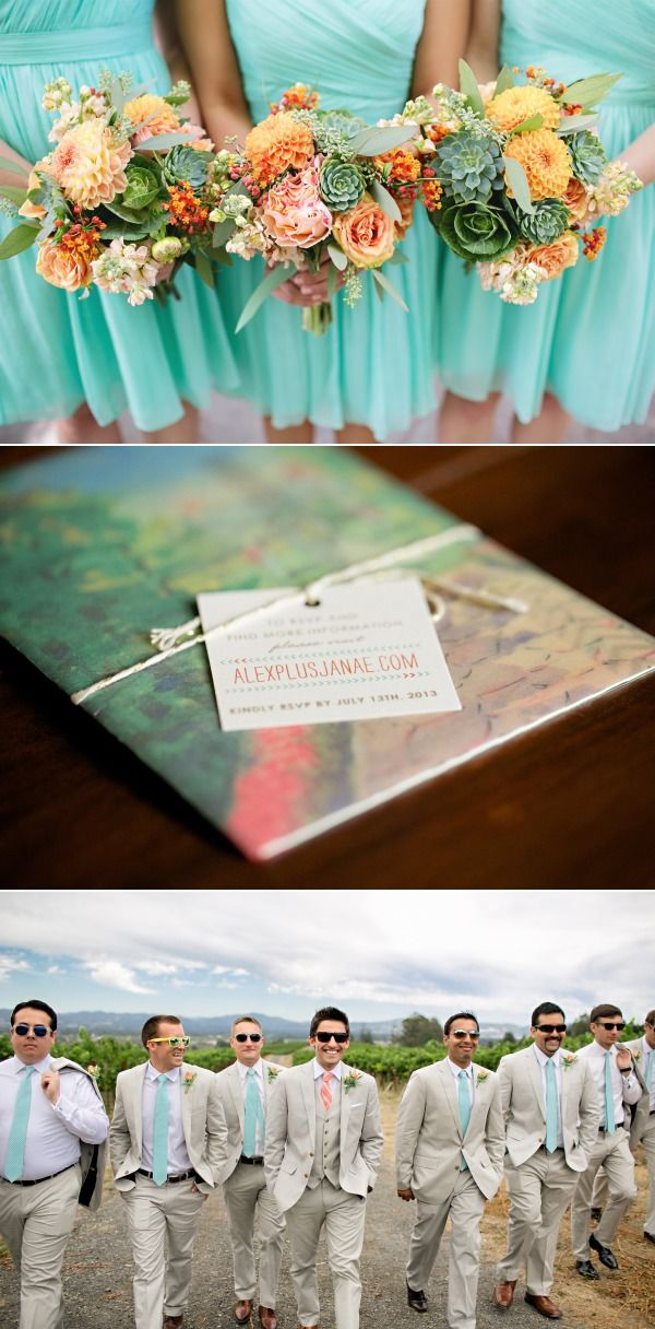 tiffany blue wedding. i love the men's tan colored suits