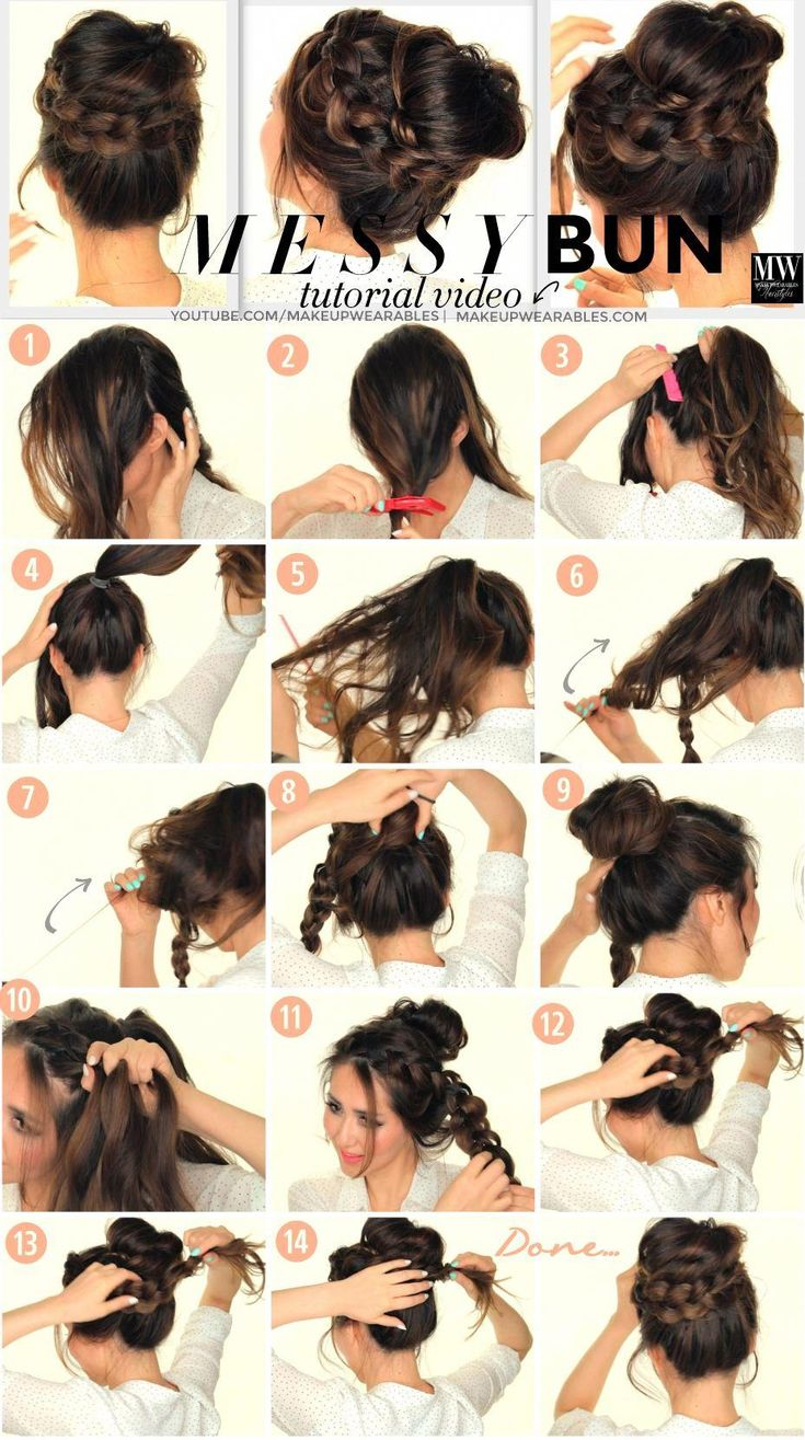 Cute 5 minute, second-day hairstyle tutorial. Learn how to create a big, messy bun, with voluminous crown braid for medium, or long hair. #messyBraide...