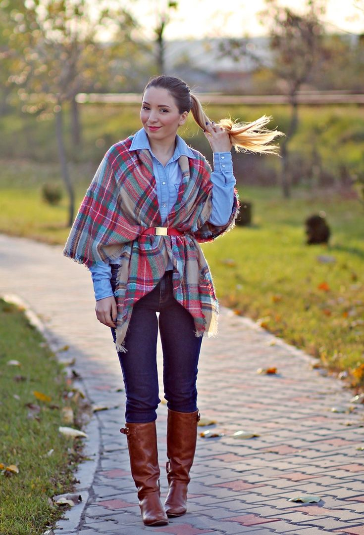 Street style: classic plaid scarf, denim on denim, brown boots - fashion blogger andreea ristea