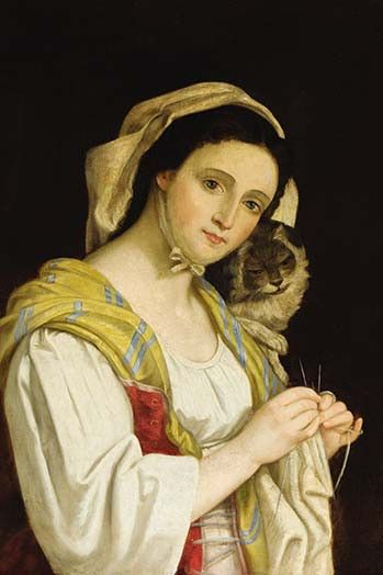 Portrait of a Woman Knitting with a Cat