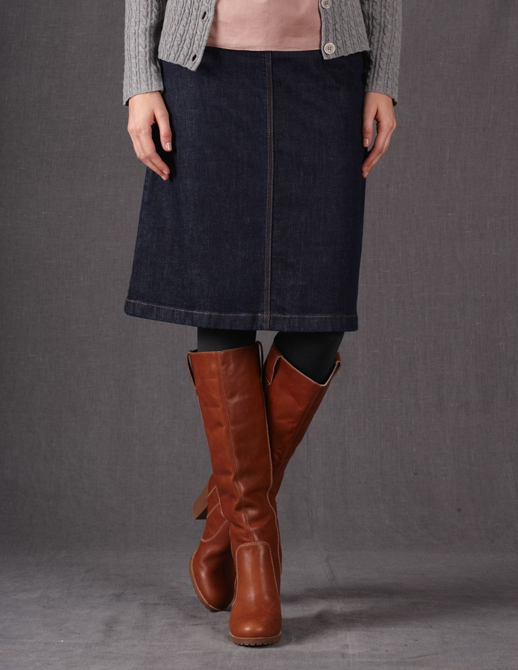 this length jean skirt with tights and boots that s