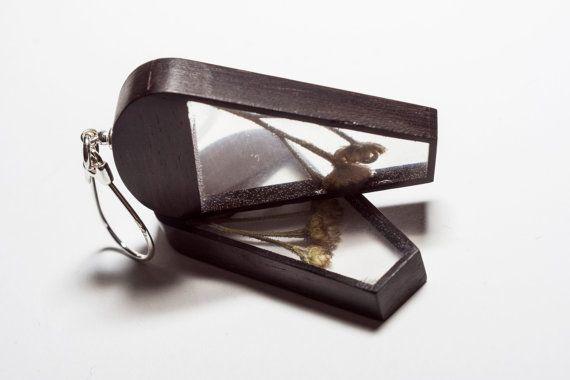 Botanical earrings Silver 925 earrings Ebony wood by vzorko