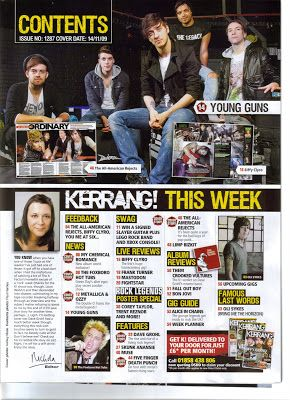 To research further into the style of different music magazines, I have purchased a 'KERRANG' November 2009 issue.   I have scanned images o...