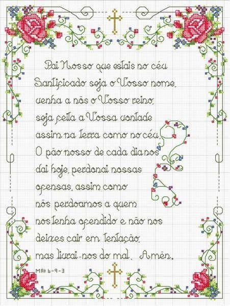 Enxoval Ponto Cruz by Núbia Cortinhas: Atendendo aos Pedidos!! Oração do Pai Nosso (Quadro) , Crianças Orando e Bichinhos Rezando.