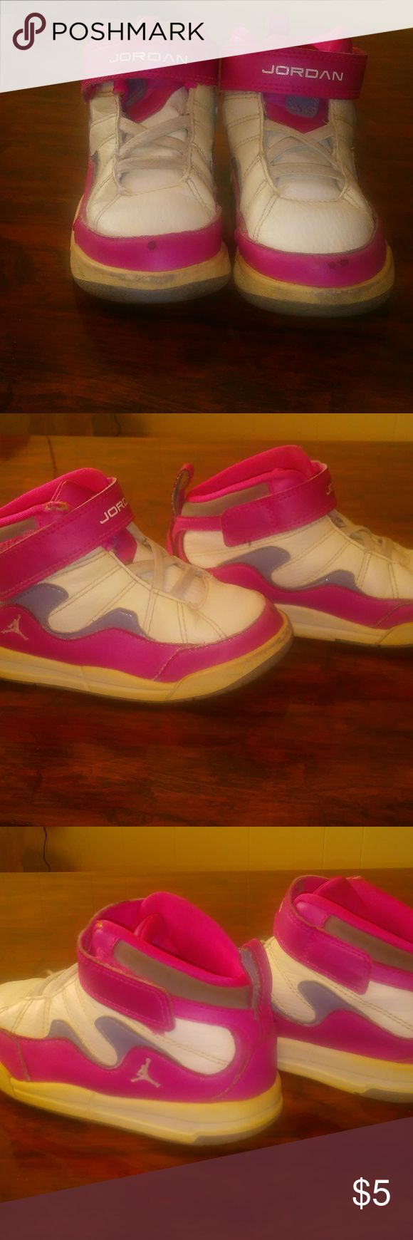 Size 10C white and pink girls jordans Used Size 10C white and pink girls jordans Air Jordan Shoes Sneakers