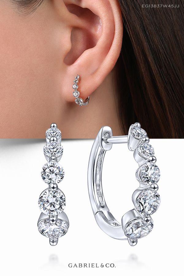 Platinum Sterling Silver Diamond Set White Sapphire Infinity Huggie Earrings New