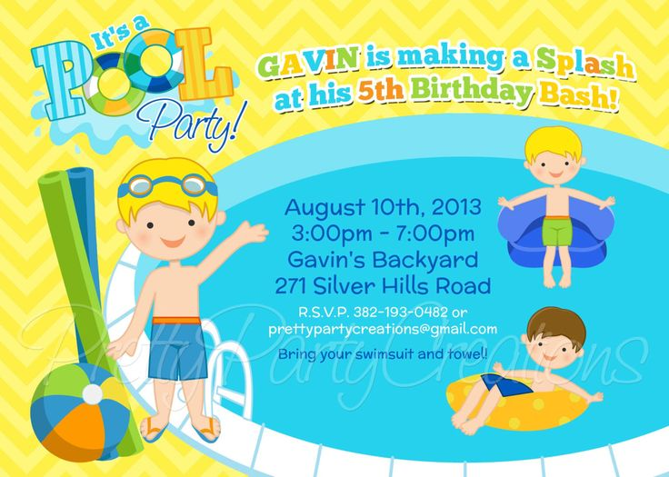 BOY POOL PARTY invitation - You Print by PrettyPartyCreations on Etsy https://www.etsy.com/listing/128733113/boy-pool-party-invitation-you-print