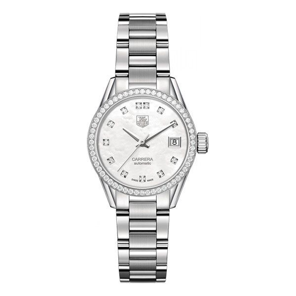 Tag Heuer Carrera Calibre 9 Diamond Automatic Mother of Pearl Watch ($4,700) ❤ liked on Polyvore featuring jewelry, watches, tag heuer watches, tag heuer, diamond wrist watch, diamond jewelry and mother of pearl jewelry