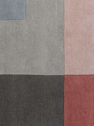 Dywan Tetris Powder - Linie Design - wełniany - szary - pudrowy