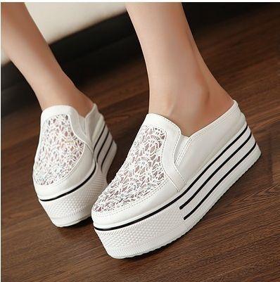 Cuñas de cristal PU compras Corea con zapatos de suela gruesa dulce de la plataforma zapatos casuales bajo corte zapatos zapatos de la mujer planos 2014: