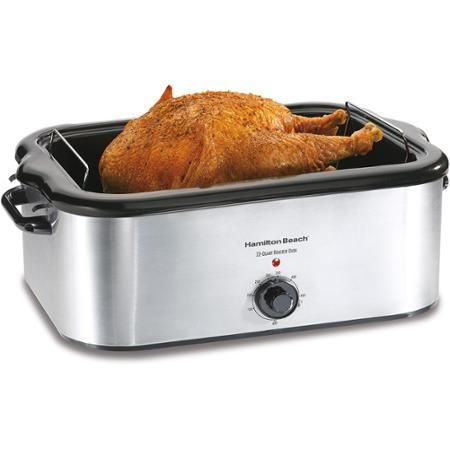 Hamilton Beach 24-Pound Turkey Roaster Oven, 22 Quart Capacity - Stainless Steel - Walmart.com