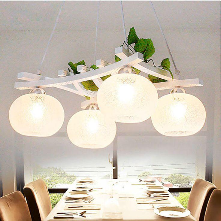 Rural pastoral pendant lights wood+glass restaurant bedroom lamps lighting 4 heads white wooden pendant lamps ZA