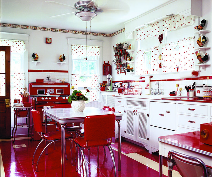 A Mid-Century Kitchen in Red. A collection of red-and-white vintage kitchenware provided the inspiration for this luscious retro kitchen.