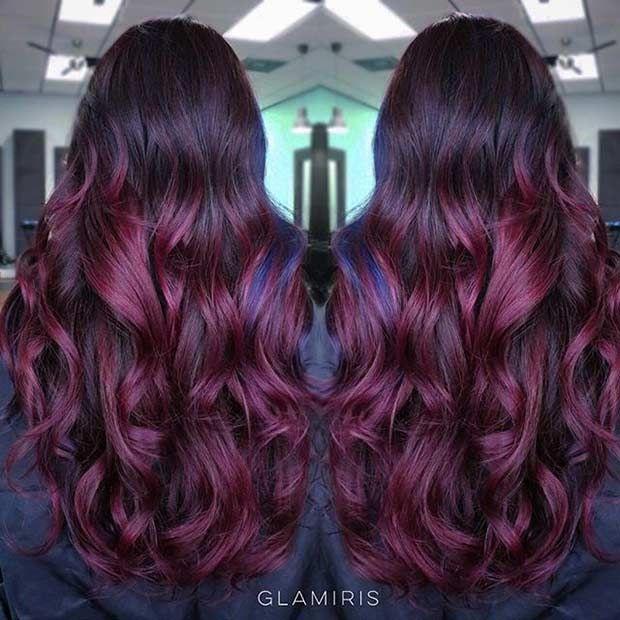 Dark red balayage on black hair