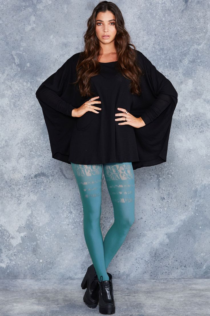 Sporty Stripes Floral Teal Hosiery - LIMITED ($40AUD) by BlackMilk Clothing