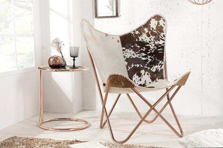 Fotel skórzany biało-brązowy