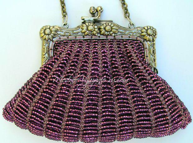 Как связать спицами сумочку с бисером   -  Модное вязание