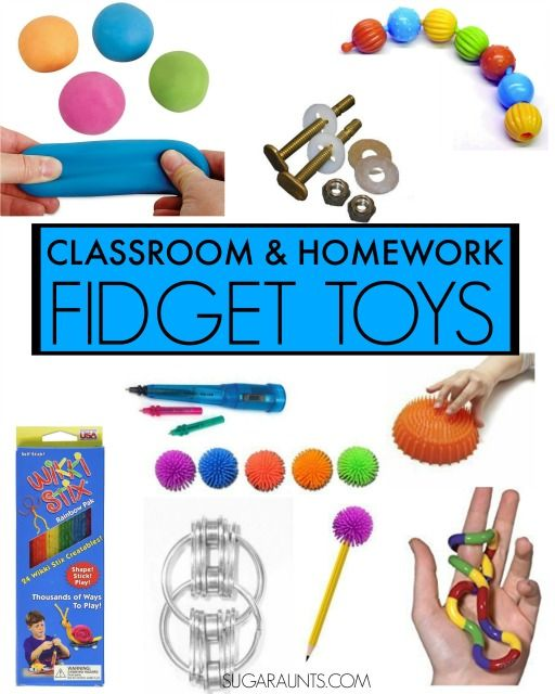 Classroom and homework fidget toys to help with concentration and fidgeting in sensory processing disorder SPD, Autism, Asperger's, and typical sensory needs.