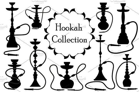 Hookah Icon Set Black Silhouette Outline Style Arabic Hookahs