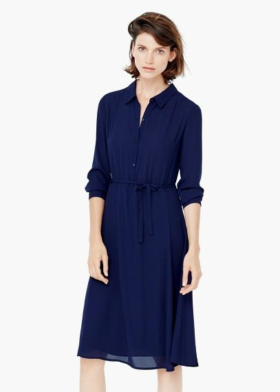 Koszulowa sukienka z wiązaniem | MANGO