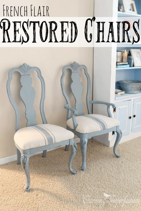 See what these lovely French flair chairs were transformed from. Sometimes it's amazing what you can do with materials on hand.